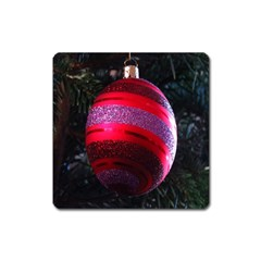 Glass Ball Decorated Beautiful Red Square Magnet by Nexatart