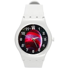 Glass Ball Decorated Beautiful Red Round Plastic Sport Watch (m) by Nexatart