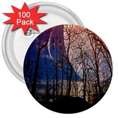 Full Moon Forest Night Darkness 3  Buttons (100 Pack)  by Nexatart