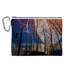 Full Moon Forest Night Darkness Canvas Cosmetic Bag (l)