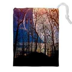 Full Moon Forest Night Darkness Drawstring Pouches (XXL) by Nexatart