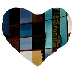 Glass Facade Colorful Architecture Large 19  Premium Heart Shape Cushions by Nexatart