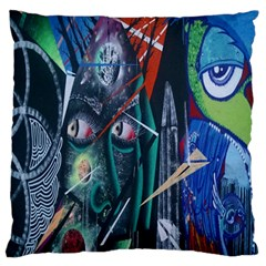 Graffiti Art Urban Design Paint Large Flano Cushion Case (two Sides) by Nexatart