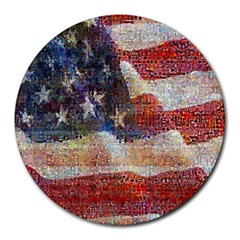 Grunge United State Of Art Flag Round Mousepads by Nexatart