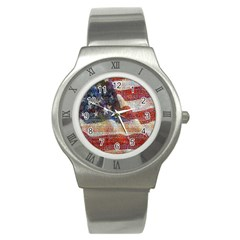Grunge United State Of Art Flag Stainless Steel Watch by Nexatart