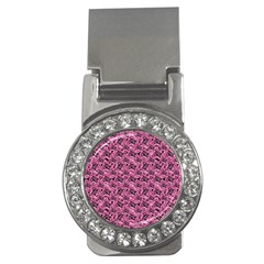 Floral Pink Collage Pattern Money Clips (cz)  by dflcprints