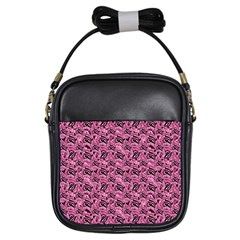 Floral Pink Collage Pattern Girls Sling Bags by dflcprints