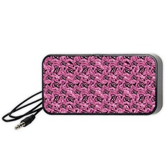 Floral Pink Collage Pattern Portable Speaker (black) by dflcprints