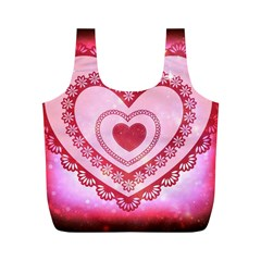Heart Background Lace Full Print Recycle Bags (m)  by Nexatart