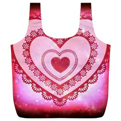 Heart Background Lace Full Print Recycle Bags (l)  by Nexatart