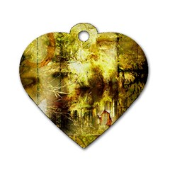 Grunge Texture Retro Design Dog Tag Heart (one Side) by Nexatart