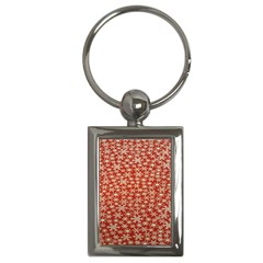 Holiday Snow Snowflakes Red Key Chains (rectangle)  by Nexatart
