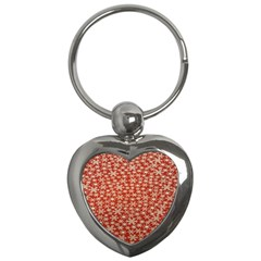 Holiday Snow Snowflakes Red Key Chains (heart)  by Nexatart