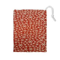 Holiday Snow Snowflakes Red Drawstring Pouches (large)  by Nexatart