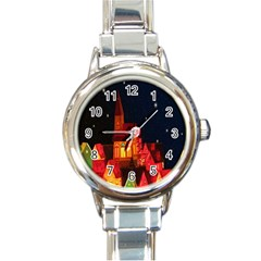Market Christmas Light Round Italian Charm Watch