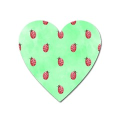 Ladybug Pattern Heart Magnet by Nexatart