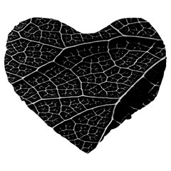 Leaf Pattern  B&w Large 19  Premium Flano Heart Shape Cushions by Nexatart