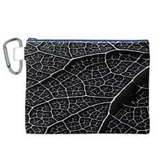 Leaf Pattern  B&w Canvas Cosmetic Bag (xl) by Nexatart