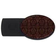 Leaf Pattern Green Wallpaper Tea Leather Usb Flash Drive Oval (4 Gb) by Nexatart