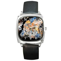 Landscape Sunset Sky Summer Square Metal Watch by Nexatart