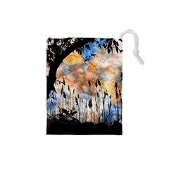 Landscape Sunset Sky Summer Drawstring Pouches (small)  by Nexatart