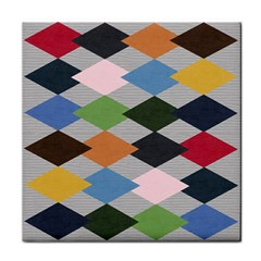 Leather Colorful Diamond Design Tile Coasters by Nexatart
