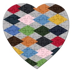 Leather Colorful Diamond Design Jigsaw Puzzle (heart) by Nexatart