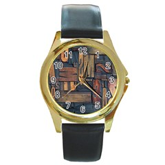 Letters Wooden Old Artwork Vintage Round Gold Metal Watch by Nexatart