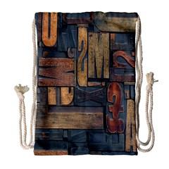Letters Wooden Old Artwork Vintage Drawstring Bag (large) by Nexatart