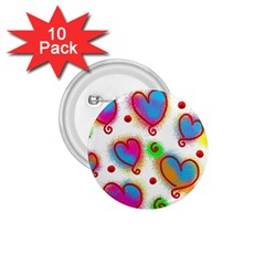 Love Hearts Shapes Doodle Art 1 75  Buttons (10 Pack) by Nexatart
