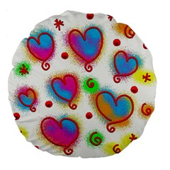 Love Hearts Shapes Doodle Art Large 18  Premium Flano Round Cushions by Nexatart