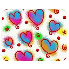 Love Hearts Shapes Doodle Art Double Sided Flano Blanket (medium)