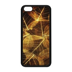 Leaves Autumn Texture Brown Apple Iphone 5c Seamless Case (black) by Nexatart