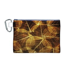 Leaves Autumn Texture Brown Canvas Cosmetic Bag (M) by Nexatart