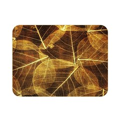 Leaves Autumn Texture Brown Double Sided Flano Blanket (mini)  by Nexatart