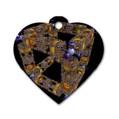 Machine Gear Mechanical Technology Dog Tag Heart (two Sides) by Nexatart