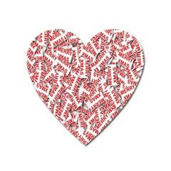 Merry Christmas Xmas Pattern Heart Magnet by Nexatart