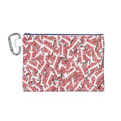 Merry Christmas Xmas Pattern Canvas Cosmetic Bag (m) by Nexatart