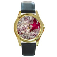 Morocco Motif Pattern Travel Round Gold Metal Watch by Nexatart