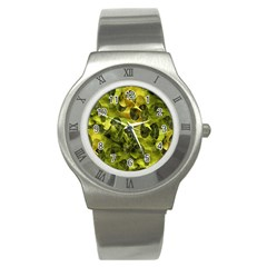 Olive Seamless Camouflage Pattern Stainless Steel Watch by Nexatart