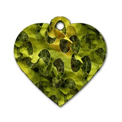 Olive Seamless Camouflage Pattern Dog Tag Heart (one Side)