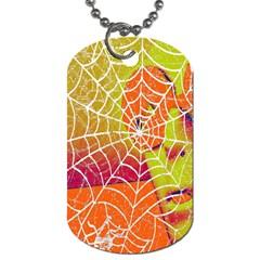 Orange Guy Spider Web Dog Tag (two Sides) by Nexatart