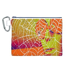 Orange Guy Spider Web Canvas Cosmetic Bag (l) by Nexatart