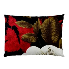 Paradis Tropical Fabric Background In Red And White Flora Pillow Case (two Sides) by Nexatart