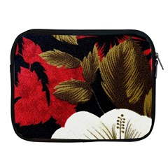 Paradis Tropical Fabric Background In Red And White Flora Apple Ipad 2/3/4 Zipper Cases