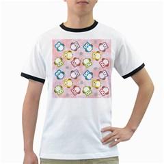 Owl Bird Cute Pattern Ringer T-Shirts by Nexatart