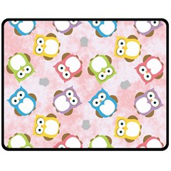 Owl Bird Cute Pattern Double Sided Fleece Blanket (medium)  by Nexatart