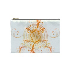 Orange Swirls Cosmetic Bag (medium)  by SheGetsCreative