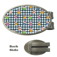 Cupcakes Plaid Pattern Money Clips (oval)  by Valentinaart