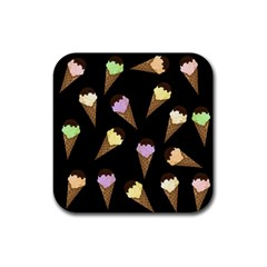 Ice Cream Cute Pattern Rubber Square Coaster (4 Pack)  by Valentinaart